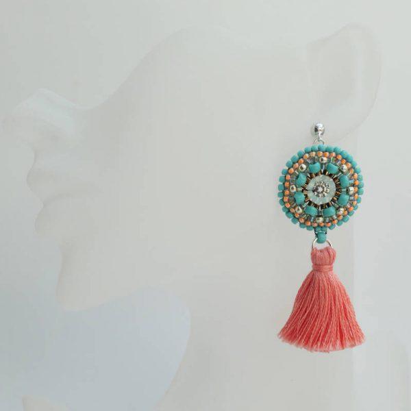Rocailles-Ohrringe mit Quaste in Türkis und Rosa