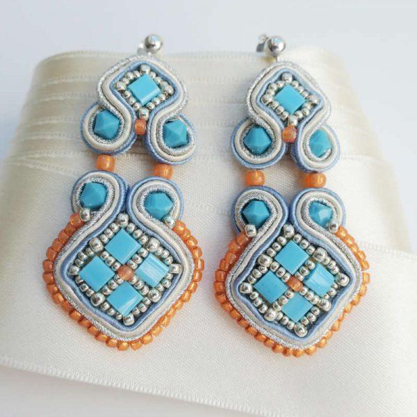Soutache-Ohrringe im Mosaik-stil in Türkis