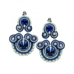 Soutache Ohrringe in Blau Silber