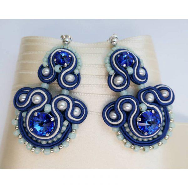 Soutache Ohrringe in Blau Silber