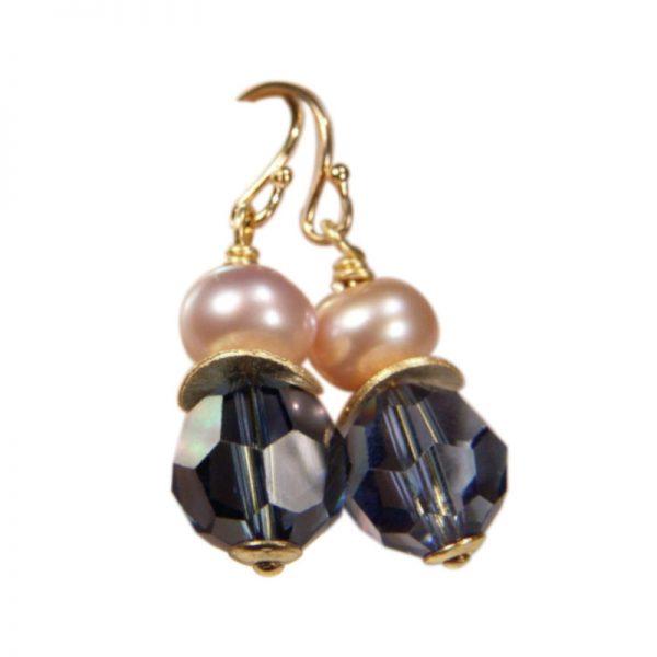 Ohrringe Perle und Kristall Dunkelblau