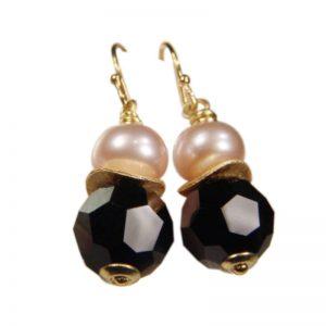 Ohrhänger mit Perle und Kristall in Schwarz