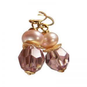 Ohrringe Perle und Kristall Hellrosas