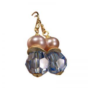 Ohrringe Perle und Kristall Hellblau