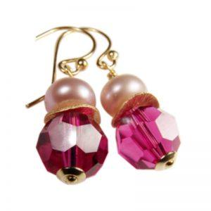 Ohrringe Perle und Kristall Fuchsia
