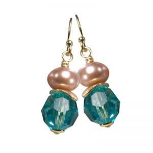 Ohrringe Perle und Kristall Türkis