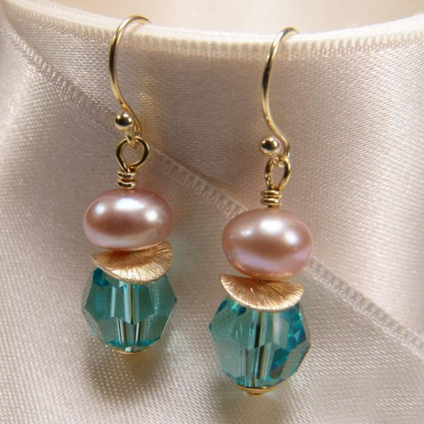 Ohrhänger mit Perle und Kristall in Türkis - Variante in Silber vergoldet