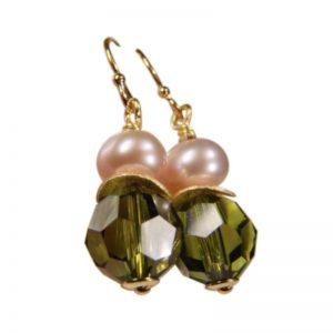 Ohrringe Perle und Kristall Olivgrün