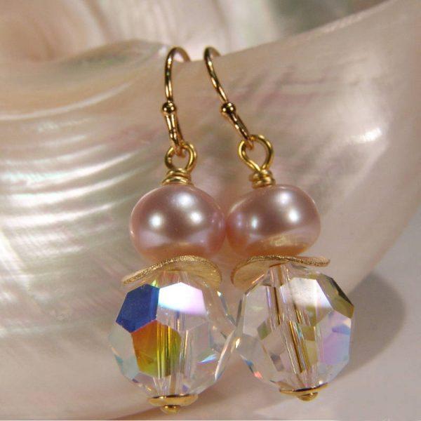Ohrhänger mit Perle und Kristall - Variante in Silber vergoldet