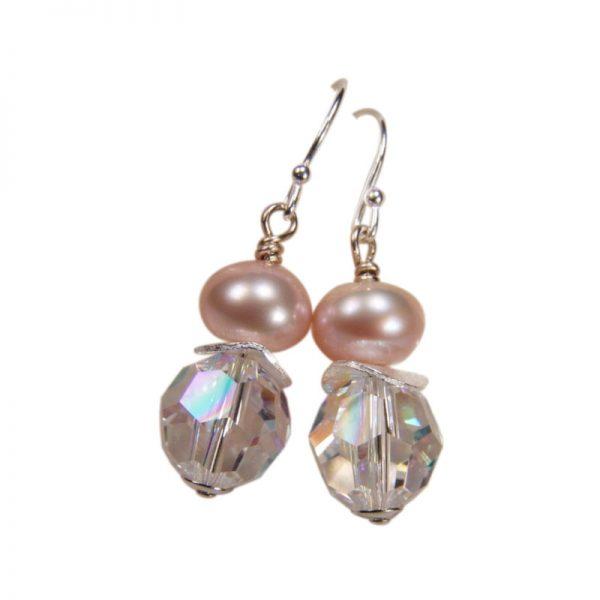 Ohrringe Perle und Kristall Crystal