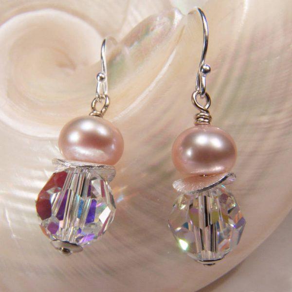 Ohrhänger mit Perle und Kristall - Variante in Silber