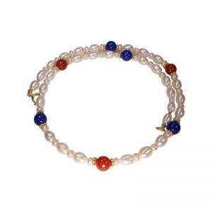 Perlenkette in Blau-Rot mit Karneol und Jade