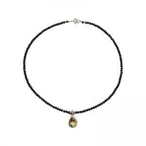 Halskette mit schwarzem Spinell und Citrin-Anhänger