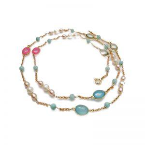 Longkette mit Perlen und Edelsteinen in Rosa und Hellblau