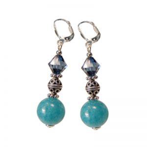 Ohrringe mit Angelit und Silber