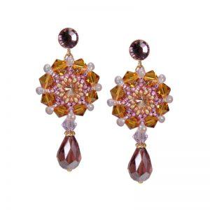 Ohrhänger mit Glastropfen in Orange-Violett