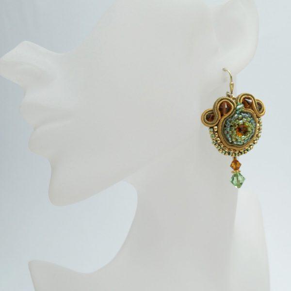 Soutache Ohrringe Grün-Gelb