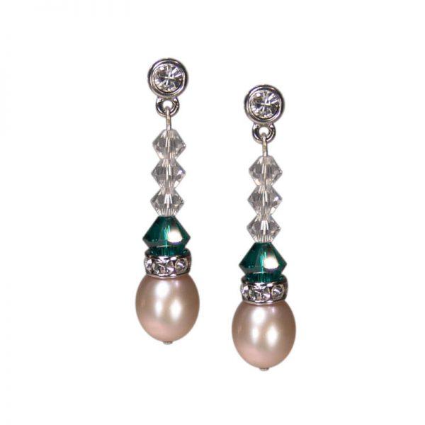 Perlenohrringe grün Kristall