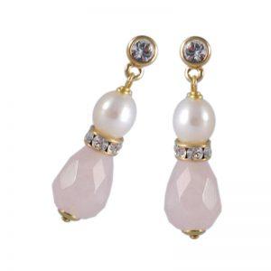 Edelstein-Ohrhänger mit Rosenquarz-Tropfen und weißer Perle