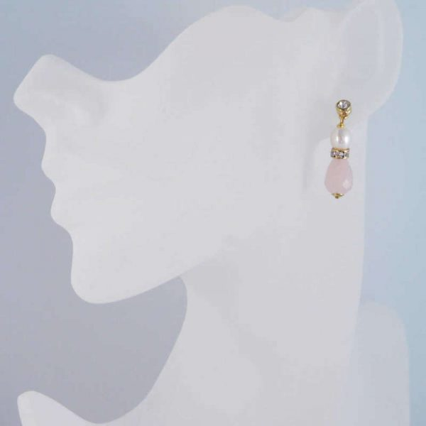 Edelstein-Ohrhänger mit Rosenquarz und Perle