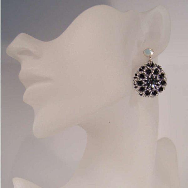 Runde Rocailles-Ohrringe Schwarz-Weiß
