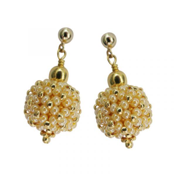 Ohrringe kleine Perlenkugeln gelb