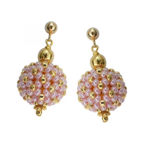 Ohrringe kleine Perlenkugeln rosa