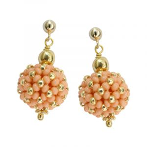 Ohrringe kleine Perlenkugeln koralle