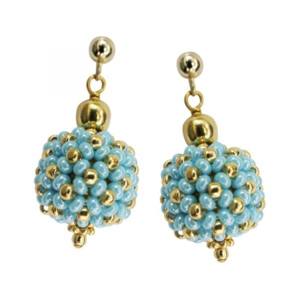 Kleine Perlenkugeln-Ohrringe türkis-gold
